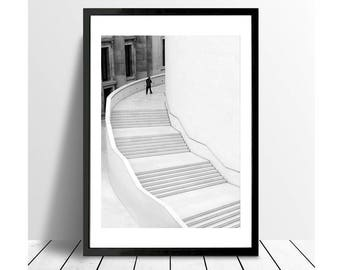 London Print, street photography, Black and White Photography Print, Staircase, Stairs, Minimalist Print, Fine Art Prints, British Museum