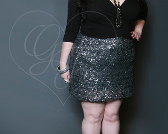 PLUS SIZE Sequin Mini Skirt - High Waist A-Line