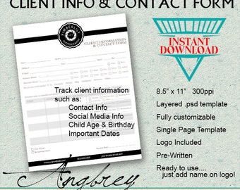 Client Info & Contact Form for Photographers, Client Information Form, Photoshop Template