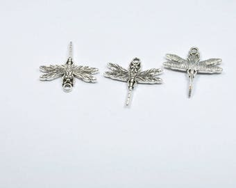 BR477 - Set of 3 silver metal Dragonfly charms