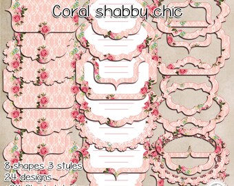 "48 Labels - frames/ Coral shabby chic / PNG  transparent background / High quality, 300 PPI. 7""x5""//2100x1500px.#47"