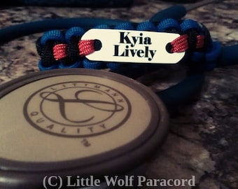 Stethoscope ID Tag - Paracord - Custom - Nurse - CNA - EMT - Paramedic - Doctor - Medical Assistant - Firefighter - Medical Graduation Gift