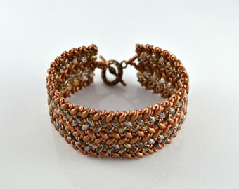Beaded Herringbone Bracelet in Copper and Amber, SuperDuo Bead Bracelet
