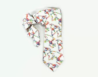 Rainbow map tie, rainbow world tie, Map necktie, world map tie, rainbow tie, world rainbow