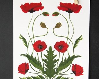 Mirrored Poppies Print