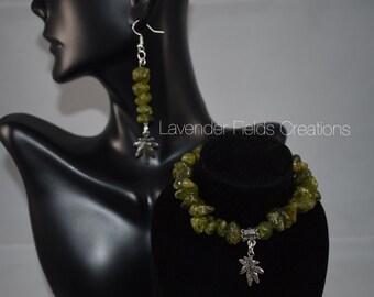 Green Chip Glass Bracelet and Earrings Set (201859B)