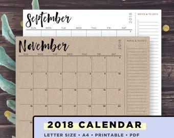 Printable Calendar 2018 | 2018 Desk Calendar, Letter Size, A4, Monday and Sunday Start Versions