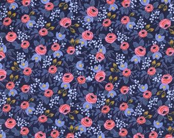 Cotton + Steel- Rosa in Navy- Les Fleurs- Rifle Paper Co.