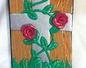 Cross and Roses Bible Cover King James New Testament Red Letter  Christening Dedication Baptism Confirmation Gift