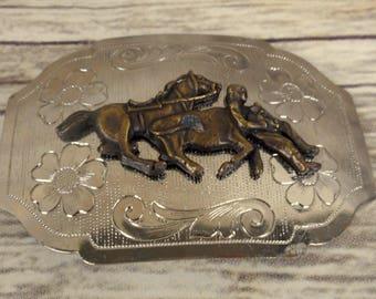 Steer Wrestling Belt Buckle Ranch Rodeo Silver Vintage Bulldogging Cowboy Horse