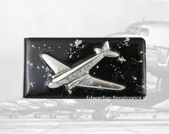 Jumbo Jet Money Clip Inlaid in Hand Painted Black with Silver Splash Enamel Airplane Neo Victorian Inspired Personalized and Color Options