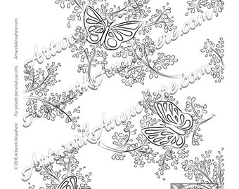 Butterflies on Tiny Sprigs ~ Adult coloring page printable download digi- stamp ~hand drawn butterfly~ Japanese Blossoms by Artwork Anywhere