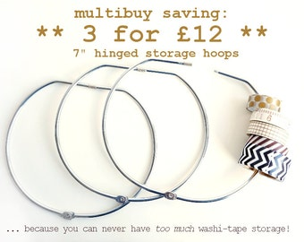 Multibuy deal! 3 washi tape storage hoops for 12 pounds