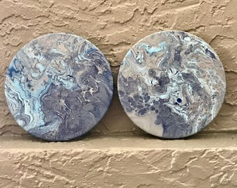 Pair Blue Marbled Abstract Round Paintings
