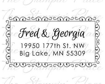 Custom Address Stamp - Scroll Frame Address PR459