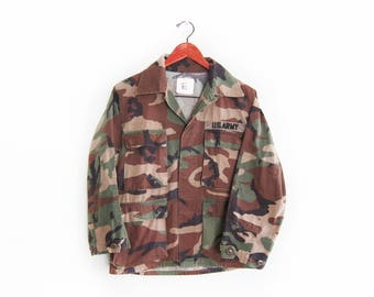 vintage army jacket / US Army jacket / camo army jacket / 1980s camo US Army patch jacket Small