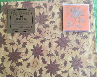 Vintage 70s Gift Ensemble Norcross Poinsettia Brocade Unused Sheet Christmas Holiday Gift Wrapping Paper with 3 Matching Gift Tags