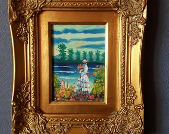 Lovely Oil Painting on Canvas In Striking Ornate Gold Frame