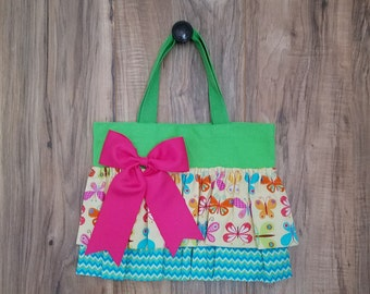 Yellow Butterfly Little Girl Ruffled Tote
