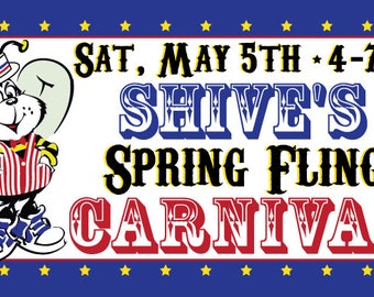 Reprint set of 2  - 6' x 3'  - Custom Vinyl Banner - Carnival Spring Fling