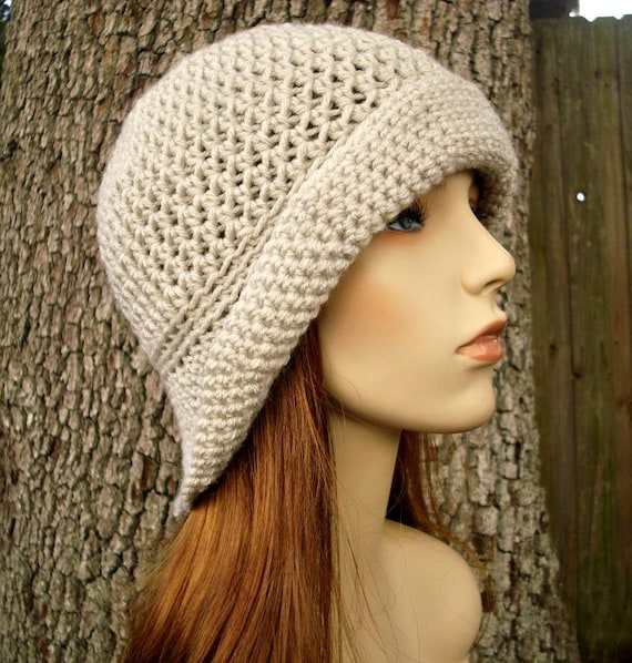 Crochet Hat Womens Hat - Crocheted Sun Hat in Cream Linen Crochet Hat - Cream Hat Cream Beanie Womens Accessories Winter Hat