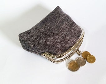 Double Kiss lock Coin Purse, Women Wallet, Double Pockets Wallet, Card Slot Wallet, Gray Coin Purse, Metal Frame, Gifts For Her