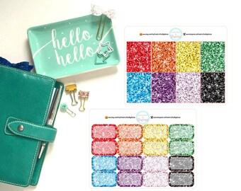 EC/Erin Condren Vertical Glitter Full and Half Boxes for Planner, Penpal and Journalling Stickers