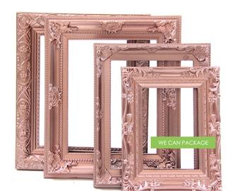 ROSE GOLD Picture Frames - Set of 4 - Wedding Frames & Shabby Chic Frames
