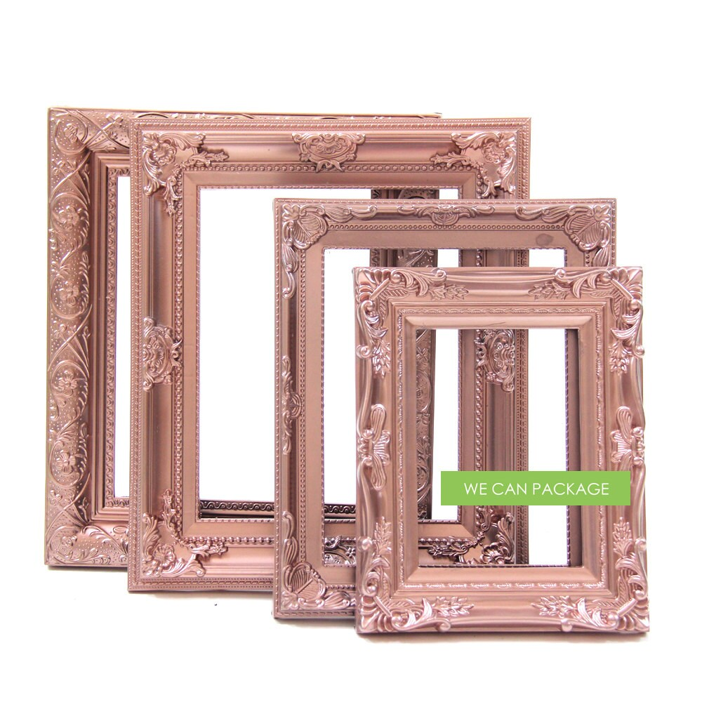 ROSE GOLD Picture Frames Set of 4 Wedding Frames & Shabby