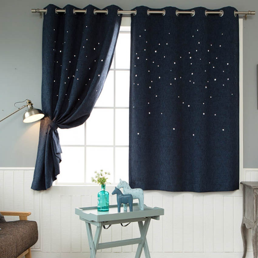navy blackout cute room kids curtains star p printed curtain