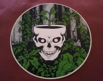 """Grateful Dead Skull Pot 5.5"""" Round STICKER DECAL"""
