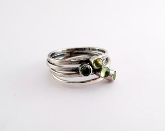Peridot Birthstone Sterling Silver Stacking Trinket Ring