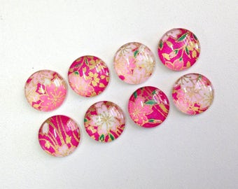 Magenta Flowers- Set of 4 or 8 Magnets or Push Pins- colorful, pretty Japanese floral designs
