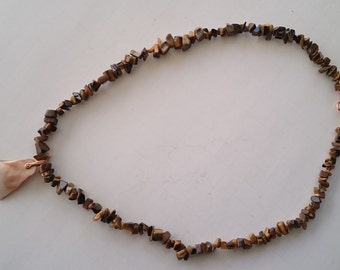 12716 Tigereye Necklace with a Mother-of-pearl Pendant. 22 inch.