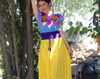 Long Mexican Skirts-Faldas in different Colors 100% Cotton-Gauze-BOHO-Yoga-Hand Dyed-Natural Fiber-Breathable-Tribal-Frida Kahlo-Tiered-Amor