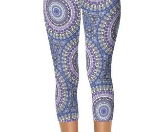Capri Leggings, Blue and Purple Tribal Print Leggings, Festival Yoga Pants, Kaleidoscopic Patterned Leggings