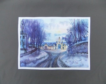 Watercolor Landscape Original Art Painting The Molchensky Monastery Landscape Watercolor paintings Wall Decor Art Painting Watercolor