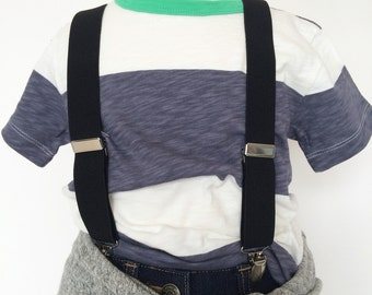 Black Elastic Suspenders