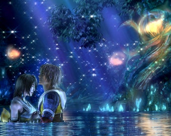 "Final Fantasy X 10 Tidus Yuna - 42"" x 27"" LARGE WALL POSTER New"