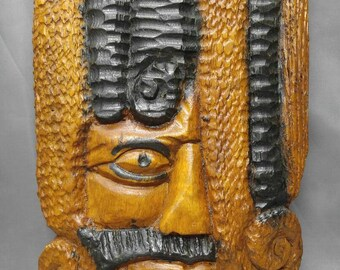 Vintage hand carved wooden Rasta man Rastafarian ethnic wood carving wall hanging plaque