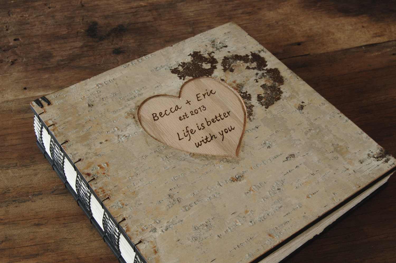 custom engraved birch wedding photo album or photo guestbook