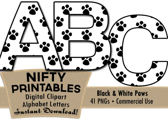 paw prints alphabet letters set black and white animal alphabet rh etsystudio com tiger paw clipart black and white paw patrol clipart free black and white