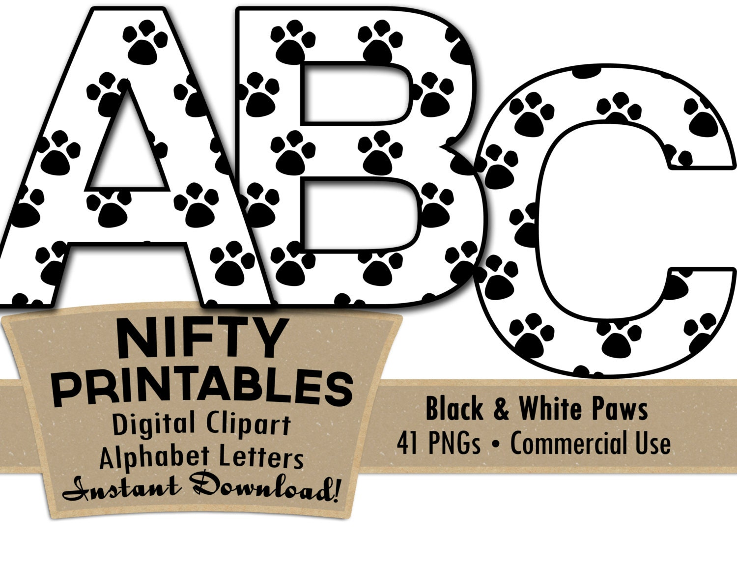 Paw Prints Alphabet Letters Set Black And White Animal