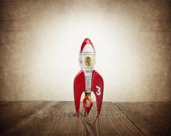 Red and White Moon Rocket 3, One Photo Print, Space Toy art, Vintage Rocket prints, Boys Room decor, Vintage Space Art,