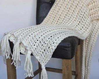 JoJo Knit Throw Blanket With Tassels//Knit Throw Blanket in Cream//Tassel Throw Knit Blanket