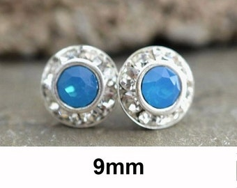 Caribbean Blue Opal, Silver Opal Studs, Rhinestone Studs, Crystal Earrings, Blue Opal Studs, Opal Earrings, Swarovski, Rostone, 9mm Studs