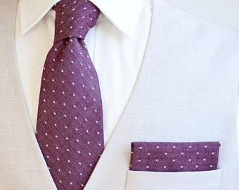 Necktie, Neckties, Mens Necktie, Neck Tie, Plaid Neckties, Groomsmen Necktie, Ties, Wedding Neckties, Holiday Ties - Cranberry Chambray Dot
