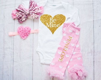 Be Mine-Baby Valentines Day Outfit / Pink Girls Valentines Day Clothing..Personalized Valentines Bodysuit-Baby's First Valentines Outfit