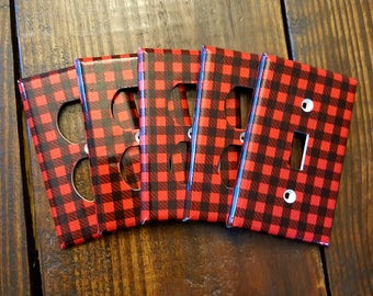 Lumberjack Light Switch And Outlet Covers | Woodland Nursery - Set of 4 - Lumber Jack - Red Plaid - Lumberjack Baby - Home Decor - Kids Room
