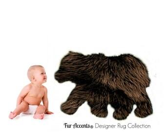 Plush Faux Fur Area Rug - Luxury Fur Soft Shaggy Baby Bear Skin - Nursery Play - Kids Room - Designer Throw Rug - Fur Accents USA